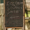 Right here: Chalk on a blackboard announes the Ice Cream socilal at Billie Creek Village Sunday afternoon.
