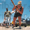 Tribune-Star/Joseph C. Garza<br /> Pull, Molly, pull!: Molly Martin, 18, pulls a full-size pickup truck during the Gladiator Challenge Saturday at Dever Distributing.