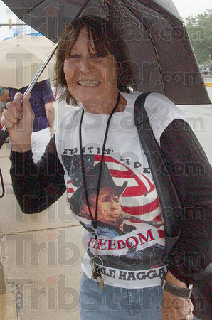 Me & Merle: Lena Sobieski was one of about 200 people that showed up in the rain for Saturday's Tea Party on the Vigo County Courthouse steps.