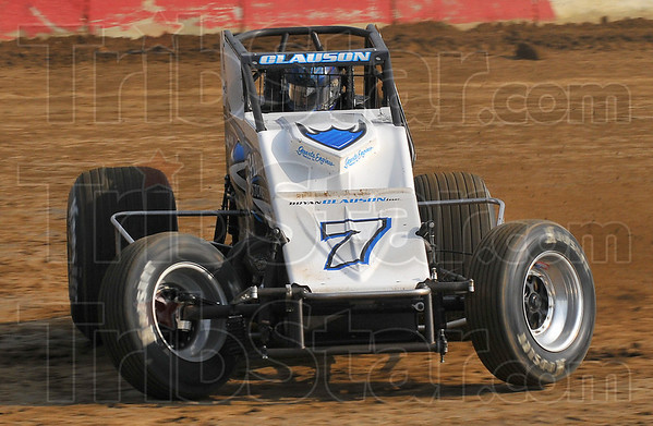Sliding sideways: Bryan Clauson was the Sprint Week leader going into the Wednesday night race at the Terre Haute Action Track.