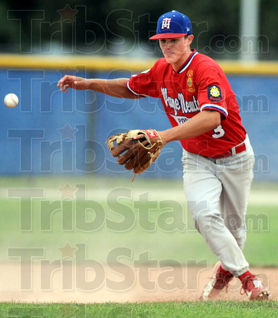Crossed up: Post 346 shortstop #3, Jacob Hayes loses control of a ball as he attempts to throw during game action against Danville Monday evening.
