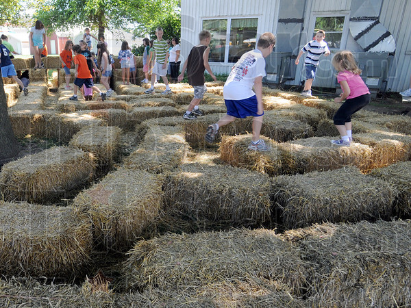 A maze....ing: A group of kids navigate the maze of straw bales just outside the 4-H Rabbit judging area Monday morning at the fairgrounds.