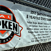 Heritage: Banners hung on backstops speak of the past success of the Riley Cal Ripken league baseball teams.