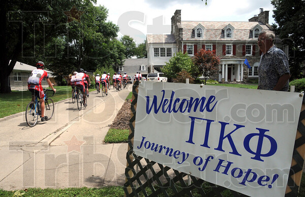 Arrival: Journey of Hope riders arrive at their overnight location Monday afternoon.