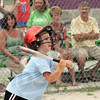 Base hit: Texas Roadhouse's #6, Maddie Kooistra makes contact and gets a base hit during game action against the Sertoma team Tuesday evening at the Miss Softball America complex.