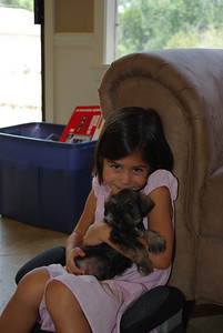 Camila with the schnauzer puppy