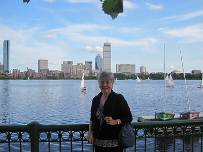 Franny with Boston Skyline from Cambridge, June 2009
