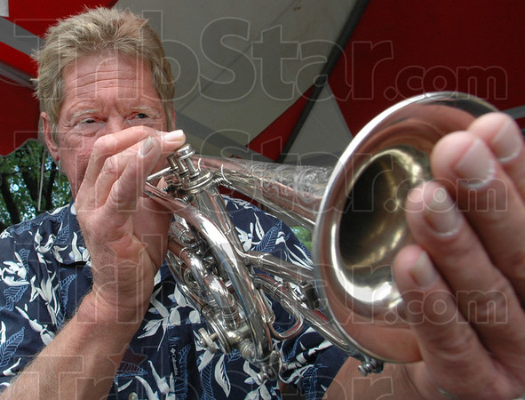 Festival music: Marshall Rector performs with the band during Thursday's Strawberry Festival sponsored by the First Congregational Church.
