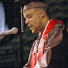 Master of Ceremonies: Student Council President Garyad Passmore gets Terre Haute South's graduation underway Sunday afternoon at Hulman Center.