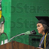 Tribune-Star/Joseph C. Garza<br /> Advice from the top Viking: West Vigo High School Class of 2009 Valedictorian Katie Ellingsworth addresses her classmates during the commencement ceremony Sunday in West Terre Haute.