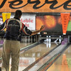 Tribune-Star/Joseph C. Garza<br /> Tough roll: Eugene McCune reacts after he tried to pick up a spare during his round of 4 game against eventual champion, Richard Kidd, during the Greater Terre Haute Open, a PBA regional, Sunday at the Terre Haute Bowling Center.