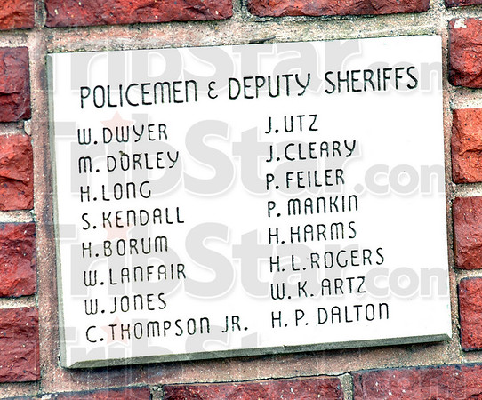 Wall of Heroes: Names of Police and Deputy Sheriffs who died in the line of duty posted at the Police and Fire Museum located at 8th and Lockport streets.