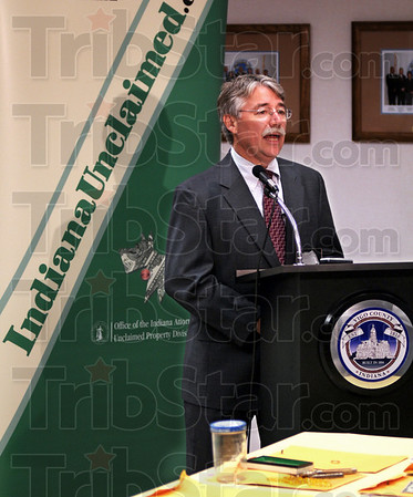 Attorney General: Greg Zoeller talks about unclaimed items that may belong to Vigo Co. residents during his visit Friday afternoon.