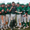Something to shout about: West Vigo's Aaron Welch celebrates with his teammates as he holds the regional and semistate plaque after the Vikings defeated Brebeuf in the Class 3A baseball semistate Saturday in Avon.