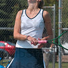 Nooo!: Terre Haute North's Brittany Farmer reacts to a forehand she hit long during her state singles match against Munster's Mary Hill Saturday at North Central High School in Indianapolis.