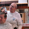 Tribune-Star/Joseph C. Garza<br /> Customer friendly: Art Stadler talks about his experiences Monday as a barber at his shop at 1919 Maple Avenue since he opened it in 1978. Receiving the haircut is customer, Scott Medley.