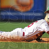 Ouch: Andrean baserunner Evan Rapacz shouts in pain as a pickoff throw hits him trying to tag him out is Viking shortstop Tyler Wampler.