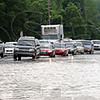 Tribune-Star file photo/Bob Poynter<br /> Surrounded: Traffic flowing northbound along US 41 near the Southwood subdivision is surrounded by water on all sides Saturday, June 7, 2008.