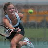Nothing gets by: Terre Haute South's Mallory Metheny stretches out for a volley during her and teammate Emma Bilyeu's No. 1 doubles match against Munster Saturday at North Central High School in Indianapolis.