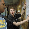 Tribune-Star file photo/Bob Poynter<br /> Police presence: Dr. Dorene Hojnicki and Indiana State Police Sgt. David Edward coordinate efforts to put police in areas where needed to prevent possible looting of abandoned homes because of high water Sunday, June 8, 2008 at the EMA Office on South Fourth Street.
