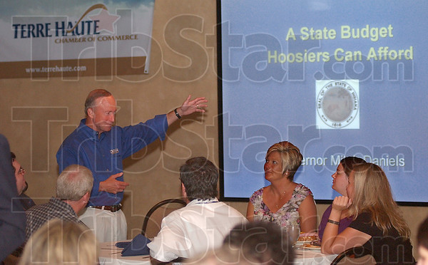PItch man: Indiana governor Mitch daniels was in Terre Haute Wednesday to talk about the state budget.