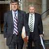 Plea: Attorney William Smock and David Decker leave the Federal Courthouse Wednesday afternoon.