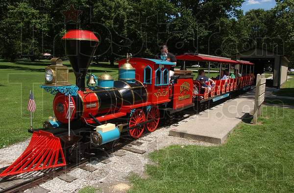 Here we go: The Spirit of Terre Haute rolls through Deming Park Monday afternoon. The motor on the aging train is in need of replacing. Some $8,000 is being sought to fund the project for the train that has run in the eastside park since 1967.