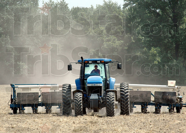 Planting: Terry Hayhurst plants corn seed Tuesday afternoon in the Industrial Park.