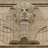 Watcher: A face carved from limestone looks over the front of the Zorah Shrine building at 7th and Chestnut streets.