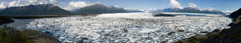 The Knik Glacier reaches the horizon among several peaks.  This is 85 images stitched, and is available as a beautiful wall hanging, just contact me at no_rock_too_steep@hotmail.com.
