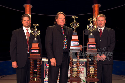 2009 Lucas Oil Late Model Dirt Series Champion Scott Bloomquist, series runner up Jimmy Owens, and 3rd place finisher Earl Pearson Jr.