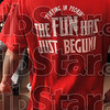 Tribune-Star/Joseph C. Garza<br /> Playing in Peoria: A member of the Marshall, Ill., High School boys basketball team wears a shirt Thursday with a saying used by head coach Tom Brannan throughout the season.