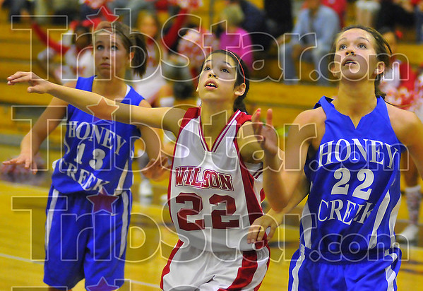 Looking up: Woodrow Wilson's Tasia Brewer  vies for postition after a free throw with Honey Creek's Kelli Buchanan(13) and Emily Bell(22).