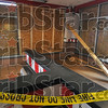 Do not cross: The interior of the Kentucky Fried Chicken eatery at Layfayette and Ft. Harrison shows the effects of the Wednesday night crash. Employees said the cross brace has shifted several inches since it was placed last night.