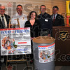 """Good friends: Participants in the new """"Food for Friends"""" campaign include: First Financial Bank, represented by Don Smith, The Terre Haute Fire Department (Jeff Fisher), The Terre Haute Tribune-Star(Jennifer Seddelmeyer), Catholic Charities (John Etling) and WTHI(Todd Weber."""