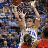 Two more for the senior: Indiana State senior Kara Schilli drives to the basket against Bradley's MacKenzie Westcott and Monica Rogers during the Sycamores' win Sunday at Hulman Center.