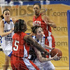 Tribune-Star/Joseph C. Garza<br /> Keeping her eyes on the prize: Indiana State's Kelsie Cooley drives against Bradley's Sonya Harris during the Sycamores' 62-58 win Sunday at Hulman Center.