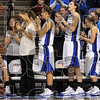 Tribune-Star/Joseph C. Garza<br /> Standing O: Indiana State seniors Leah Phillips and Kara Schilli receive a standing ovation from their teammates, staff and fans during a farewell ceremony for the two Sunday at Hulman Center.