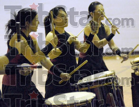 Project: Courtney DeGuchi, Jen Baik and Yuri Yoshida perform at the Washington Center Friday night as part of the Taikoproject.