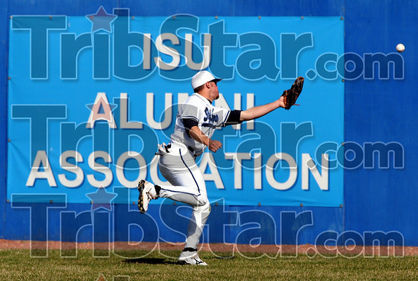 Can't get to it: Indiana State's #20, Nick Cioli can't get to a hard hit ball into the outfield during game action against Creighton Friday afternoon.