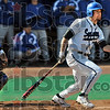 Two bagger: Indiana State's # 20, Nick Cioli watches the flight of his ball after making solid contact for a double during the third inning of Friday's game against Creighton.