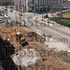 Right here: Workers for S&G Excavating prepare the ground at Seventh and Cherry Streets for the arch that will soon welcome people to the ISU campus.