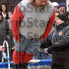 Tribune-Star/Joseph C. Garza<br /> Facing it: Art Elrod of West Terre Haute falls face first into the icy water of the Polar Plunge pool Saturday at Hulman Center.