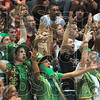 Lucky charms?: Terre Haute South fans, some in St. Patrick's Day garb, cheer another South basket during the Seymour regional semifinal Saturday.