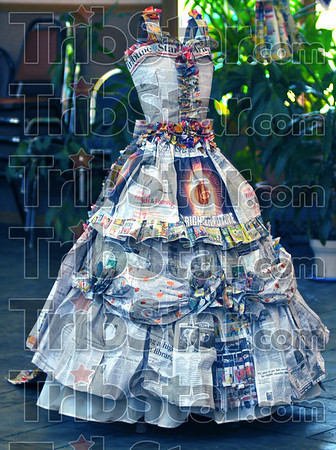 "Shall we dance: Jane Lubbehusen's ""Ball Gown"" was the winner in the ""Print to Apparel"" wearable art contest hosted by the First Unitarian Universalist Congregation Friday."