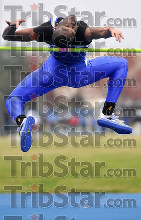 Tribune-Star/Joseph C. Garza<br /> Close, bit not quite: Indiana State's Major Clay tries to clear the bar as he competes in the high jump competition Saturday during the Indiana State Track & Field Invitational at Marks Field.