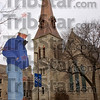 New heights: Darrell Roundtree poses across the street from St. Stephen's Episcopal Church on North 7th street. When the scaffolding was in place for workers to restore the steeple, the 73 year-old retired elementary school principal made a few trips to the top.