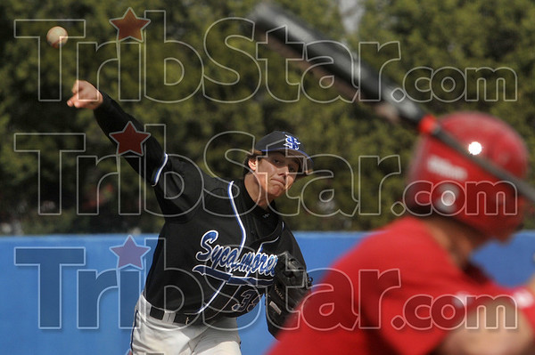 Tribune-Star/Joseph C. Garza<br /> Hard to hit: Indiana State's Cordell Green pitches against a Ball State batter during the Sycamores' game against the Cardinals Wednesday at Sycamore Field.