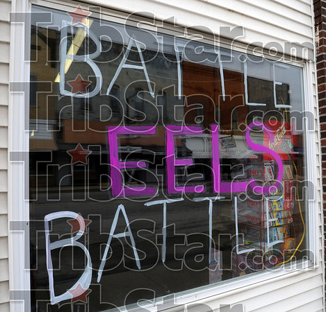 Support: A business in Clay City sports a window dressing supporting the boy's basketball team Tuesday afternoon.