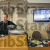 Install: Judge Michael Lewis sits on the bench of his Division #6 courtroom February 6, 2009 as video arraignment equipment is installled.